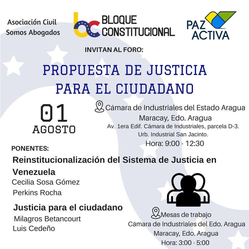"""Foro """"Propuesta De Justicia Para El Ciudadano"""" – Valencia 1º De Agosto 2018"""