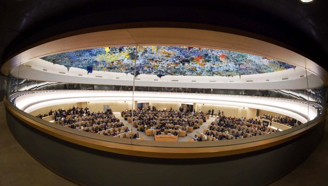"General View At The Opening Day Of The 39th UN Council Of Human Rights At The UN Offices In Geneva On September 10, 2018. In Her First Speech New High Commissioner For Human Rights Michelle Bachelet Called For The Creation Of A New ""mechanism"" Tasked With Preparing Criminal Indictments Over Atrocities Committed In Myanmar, Amid Allegations Of Genocide Against The Rohingya Minority.  / AFP PHOTO / Fabrice COFFRINI"