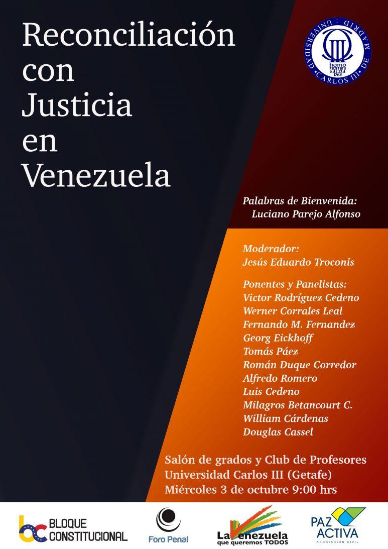 Evento Reconciliación Con Justicia En Venezuela – Madrid 3 OCTUBRE 2018